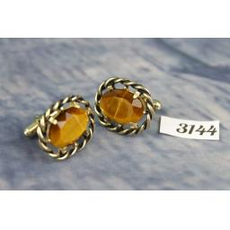 Vintage Large Gold Metal Tigers Eye Stone Cufflinks