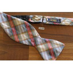 Vintage Silk Self Tie Straight End Thistle Bow Tie Pastel Plaid Tartan