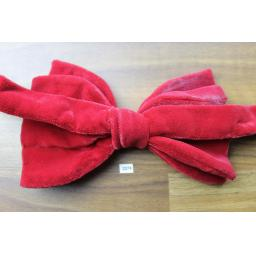Vintage 1970s Pre-Tied Bow Tie Red Velvet Adjustable Collar Size