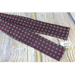 Vintage Brooks Bros All Silk Self Tie Straight End Paddle Bow Tie Burgundy Repeat Pattern