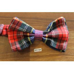 Vintage Tartan Plaid Pre Tied Elasticated Bow Tie