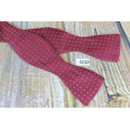Vintage English Made 100% Silk Self Tie Straight End Thistle Bow Tie Burgundy Repeat Pattern
