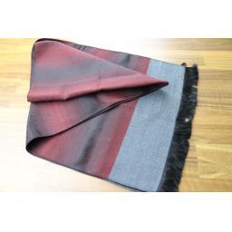 Vintage Mens Unusual Striped Burgundy Grey Black Fringed Scarf Retro Mod