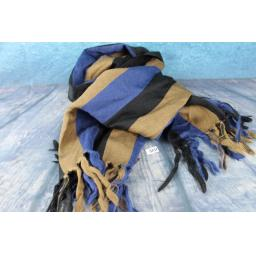 Vintage German Pure Wool Black Camel & Blue Striped Scarf