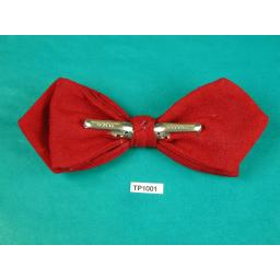 Vintage Deep Red Fine Wool Arrow End Clip On Bow Tie