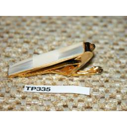 Vintage Gold Metal Tie Clip Mother Of Pearl Panel TP335