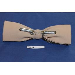 Vintage Brown & Cream Over Taupe Double Bow Square End Clip On Bow Tie