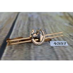 Wide Copper Finish Tie Clip With Horseshoe and Horses Head Design Very Striking 2 3/4""