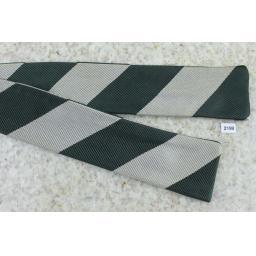 Vintage Self Tie Straight End Skinny Bow Tie Green & Beige Broad Stripe