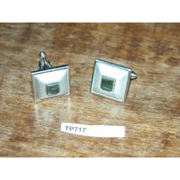 Vintage Swank Square Pyramid with Inset Green Stone Cuff Links