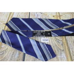 Superb Vintage Blue Ivory & Navy Striped Self Tie Arrow End Bow Tie