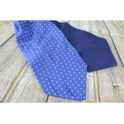Vintage 100% Silk Blue Polka Dot Wide Cravat Retro Mod