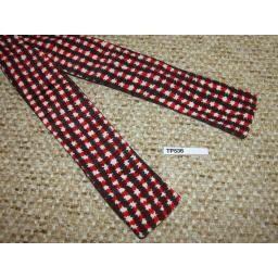 Vintage Self Tie Square End Bow Tie Red Black White Pattern Custom Made