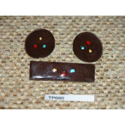 Vintage Enamelled Copper Cuff Links & Tie Clip Set Dark Brown