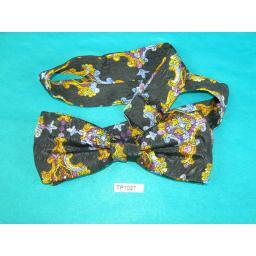 Vintage Black Purple Blue & Gold Square End Pre Tied Adjustable Length Bow Tie