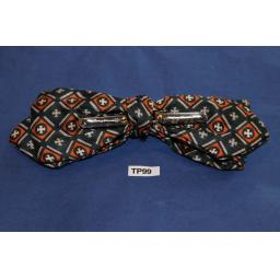 Vintage Grey & Amber Repeat Diamond Pattern Arrow End Clip On Bow Tie