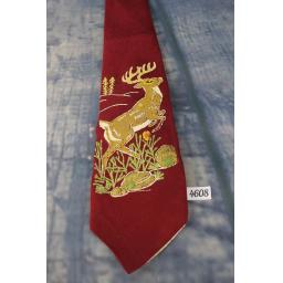 Superb Vintage 1930s 1940s Rhynecliffe Hand Made/Painted Deer Tie Lindyhop/Swing/Zoot Suit/Rat Pack