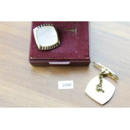 Vintage Square Chain Connect Cuff Links Gold Metal Oyster Pearly Glass