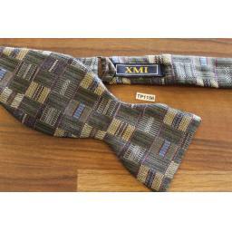 Vintage XMI Self Tie Straight End Thistle Bow Tie Grey Blue & Gold Jacquard Pattern