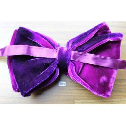 Vintage 1970s Pre-Tied Bow Tie Shades Of Purple Velvet Adjustable Collar Size