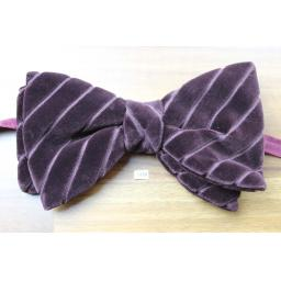 Vintage 1970s Pre-Tied Bow Tie Burgundy Velvet Carved Diagonal Stripe Adjustable Collar Size