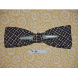 Vintage Clip On Bow Tie Br0wn & White Diamond Check Pattern
