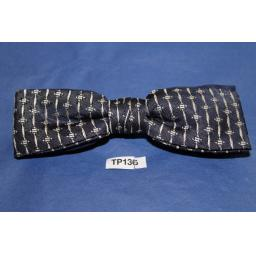 Vintage Navy & Cream Repeat Pattern Square End Clip On Bow Tie