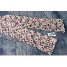 Superb Vintage All Silk Red & Black Self Tie Square End Paddle Bow Tie