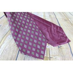 Vintage Burgundy Diamond Pattern Cravat Retro Mod