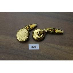 Vintage Embossed Gold Metal Round Chain Connect Cuff Links 1950s