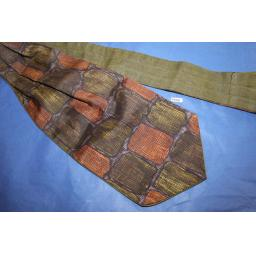Vintage Green/Brown Patterned Cravat Retro Mod