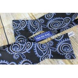 The Tie Bar 100% Silk Self Tie Straight End Thistle Bow Tie Navy & Silver Paisley