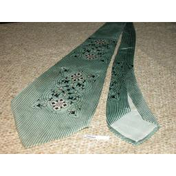 "Vintage 1940/50 Charlaine Silk Green Stripe 4.5"" Tie Swing/Zoot Suit"