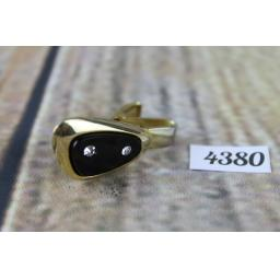 """Vintage Sarah Coventry Gold Metal Diamante and Black Glass Tie Clip 1.5"""""""