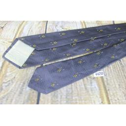Vintage All Silk 1960s Skinny Mod Era Jacquard Tie Grey & Gold
