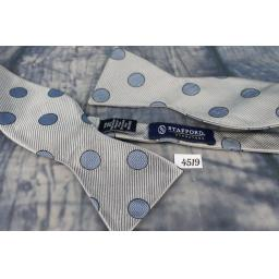 Superb Stafford Circles Spots Pattern Grey & Blue Self Tie Square End Thistle Bow Tie