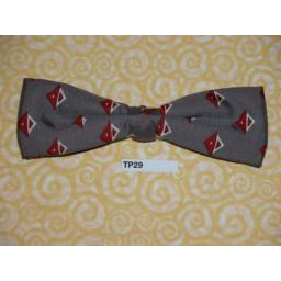 Vintage Clip On Bow Tie Grey With Red/White Repeat Pattern
