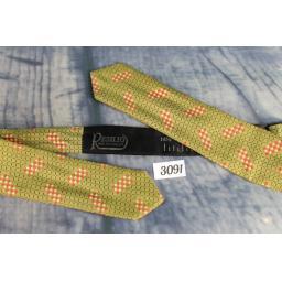 Vintage Self Tie Arrow End Olive Red Pattern Bow Tie