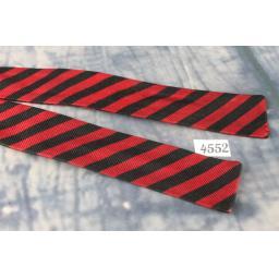 Superb Vintage Red & Black Striped Self Tie Square End Skinny Bow Tie