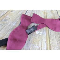 Tie Rack 100% Silk Self Tie Straight End Thistle Bow Tie Burgundy