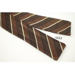 Vintage Wembley Self Tie Straight End Brown/Ivory Striped Skinny Bow Tie