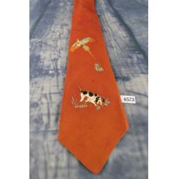 Vintage 1940s/1950s Pilgrim Cravats Hand Painted Dog/Spaniel Pheasant Tie