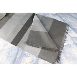 Vintage Mens Charcoal & Silver Grey Striped Scarf