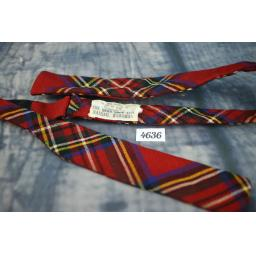 "Wool Self Tie 1.25"" Skinny Straight End Bow Tie Red Tartan"