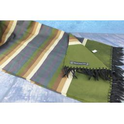 Vintage Edsor Crown Wool & Silk Aubergine Camel & Green Striped Scarf