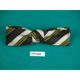 Vintage Boy's Olive Cream & Brown Stripe Square End Clip On Bow Tie