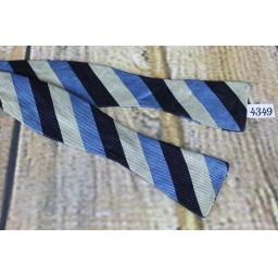 Superb Vintage All Silk Blue Silver & Navy, Broad Striped Self Tie Skinny Thistle Bow Tie