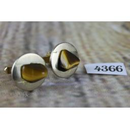 "Vintage Round Gold Metal Cuff Links With Tigers Eye Stones 3/4"" Diameter"