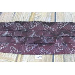 Vintage Moss Bros Burgundy & Silver Floral Adjustable Pleated Cummerbund