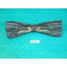 Vintage Blue & Black Abstract Pattern Square End Clip On Bow Tie